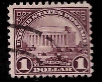 USA Scott 571 Used  1$ Lincoln Memorial stamp