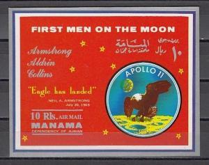 Manama, Mi cat. 212, BL37. Apollo 11. Men on the Moon s/sheet.