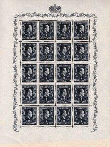 Liechtenstein 1851 Scott 259 perf 12 1/2X12 Redrawn 2Fr Prince Sheet of 20 VF/NH