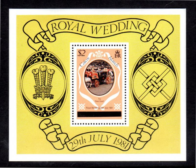 TURK & CAICOS ISLANDS - CAICOS  #11  1981  ROYAL WEDDING MINT  VF NH  O.G  S/S a