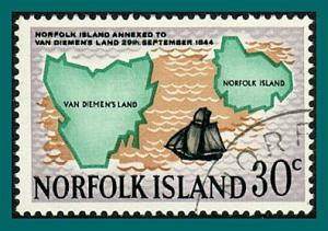 Norfolk Island 1969 Annexation, 30c used #124,SG101