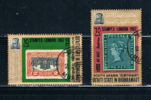 South Arabia Used Pair Stampex London 1967 (ML0334)+