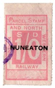 (I.B) London & North Western Railway : Parcel Stamp 1/- (Nuneaton)