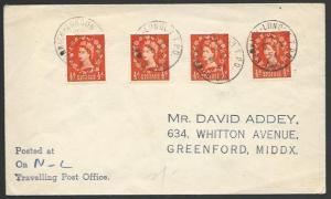 GB 1954 cover NORWICH - LONDON TPO / DAY railway cancel....................53347