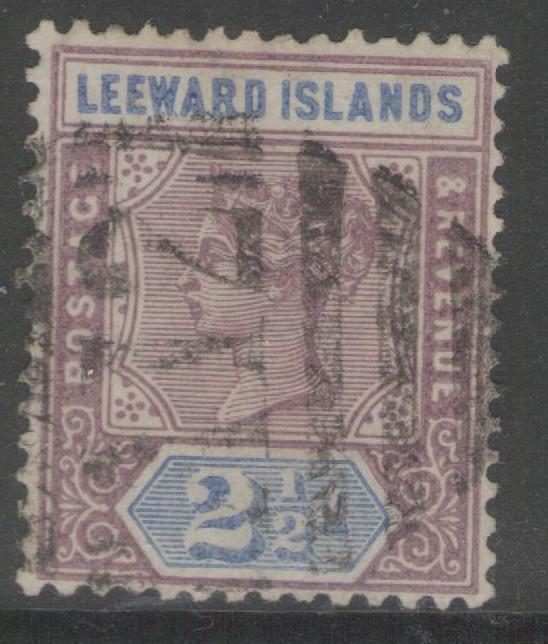 LEEWARD ISLANDS SG3 1890 2½d DULL MAUVE & BLUE USED