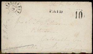 CSA Spartanburg SC Civil War Confederate Paid 10 Stampless Cover 92695