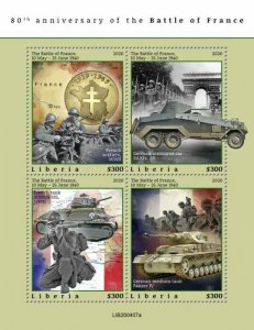 2020/10- LIBERIA - BATTLE OF FRANCE 1940       4V    MNH **