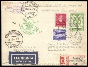 Hungary 1934 Graf Zeppelin Si102Ba Swiss Flight Cover 96513