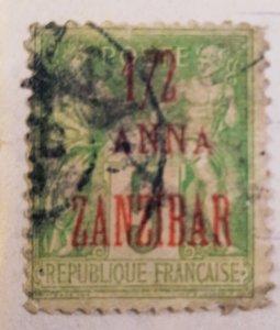 ZanZibar (now Tanzania) : 1894 : 1/2 ANNA (OverPrint)