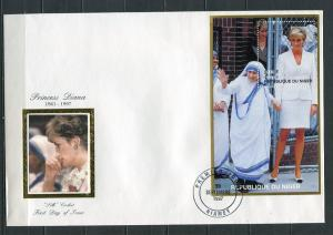 Niger 1997 Cover Fitst Day of issue Silk Cachet and SS