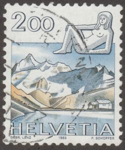 Switzerland, Scott# 724 used, mountains, lady,  #M320