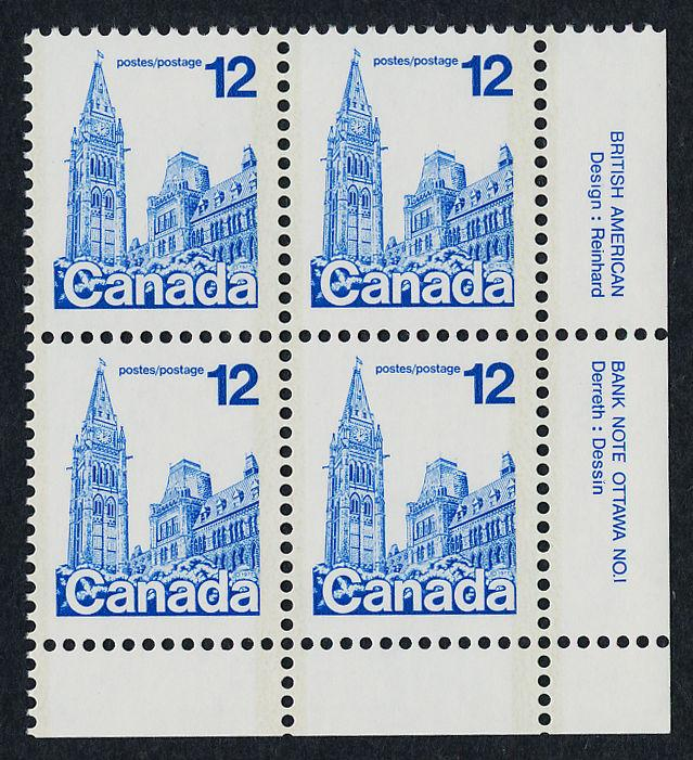 Canada 714 BR Block Plate 1 MNH Parliament Building