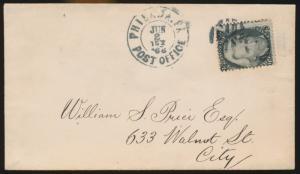 #73 W/ PLATE CRACK IN JACKSON LOWER LIP, F-VF PHILA CARRIER 1866 COVER BP1136