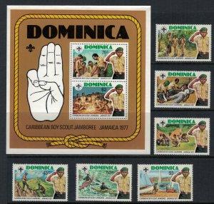 Dominica #534-40* NH  CV $5.50  Scouts set & Souvenir sheet