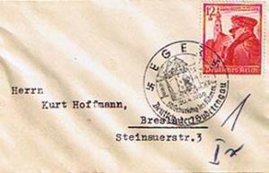 Germany 12pf+38pf Hitler's 50th Birthday Semi-Postal 1939 Eger, 50 Geburtstag...