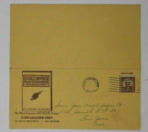 1945 Coloring Photographs Art Book Avenair Le Heart LA CA Ad card Cover