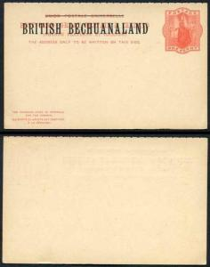 British Bechuanaland O/P on QV 1d Red Foreign Reply Postcard Mint