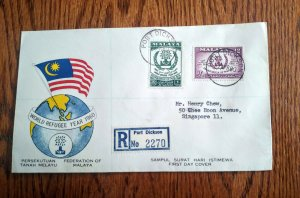 FEDERATION OF MALAYA WITH V.RARE PORT DICKSON LABEL REGISTERED  COVER