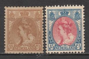 NETHERLANDS 1899 QUEEN 15C BROWN & 15C RED & BLUE