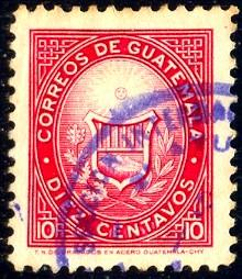 1871 Stamp, Guatemala stamp SC#387 used