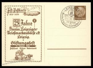 Germany 1936 25th Anniversary Leipzig Stamp Borse Zeppelin GS Postal Stati 90803