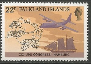 FALKLAND ISLANDS  411  MNH, XIX UPU CONGRESS, HAMBURG