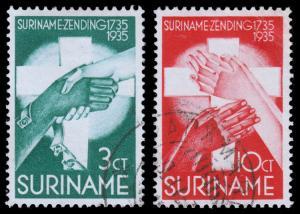 Surinam Scott B18, B21 (1935) Used H VF, CV $16.50 B