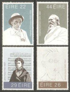 IRELAND Sc# 521 - 524 MNH FVF Set4 Famous People Music Art Writer Poet
