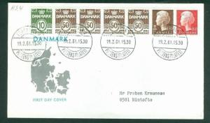 Denmark. FDC Cachet Map 1961. Booklet Panel 7 Stamps. Addressed: Nimtofte