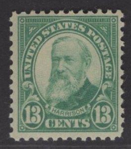 US Stamp #622 13c Harrison MINT Hinged SCV $9.00