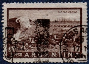 Argentina Scott #635 1 Peso Cattle Ranch (1954) Used