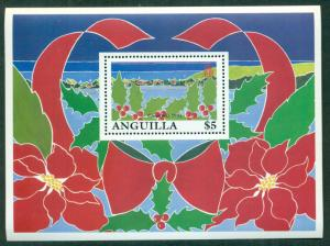 ANGUILLA SCOTT # 843, 1992 CHRISTMAS HOLLY S/S, MINT, OG, NH, GREAT PRICE!