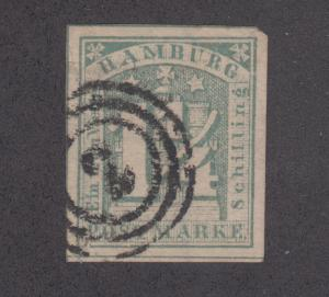 Hamburg Sc 9d used 1864 1¼s greenish gray Numeral over Coat of Arms