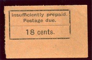 Zanzibar 1929 KGV Postage Due 18c black/orange superb MNH. SG D10. Sc J6.