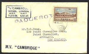 TONGA 1957 ship cover CURACAO Paquebot - nusual use........................99172