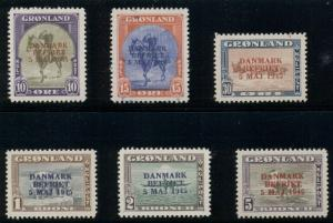 GREENLAND #22a-27a (22-7v) Complete set Wrong Color ovpts, NH, Scott $2,900.00