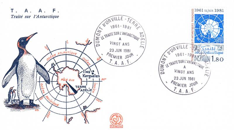 French Southern Antarctic Territories 1981 Treaty FDC  PENGUIN MAP