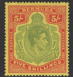 BERMUDA SG118a 1939 5/- PALE GREEN & RED/YELLOW MTD MINT