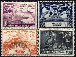 Malaya Kedah #57-60  F-VF Used CV $12.00  (X1330)