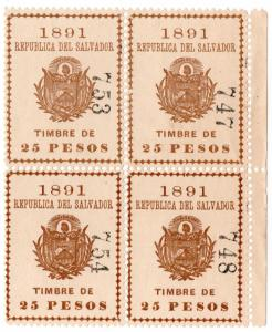(I.B) El Salvador Revenue : Timbre Nacional 25P