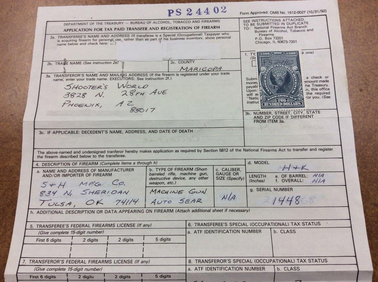 U S  - RY8 -$200 Firearms transfer stamp - on document Arizona, form