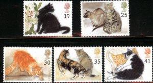 1995 Great Britain ,Cats  MNH Set # 1586-1590