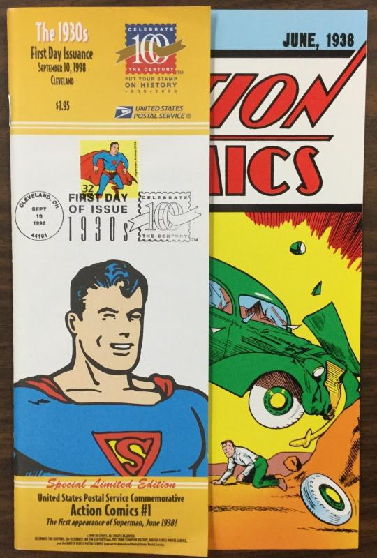 {BJ STAMPS} USPostal Service Commemorative FDC, Action Comics #1 Superman 1930's