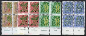 Switzerland Sc B426-9 1974 Plants  Pro Juventute stamp set mint NH Blocks of 4