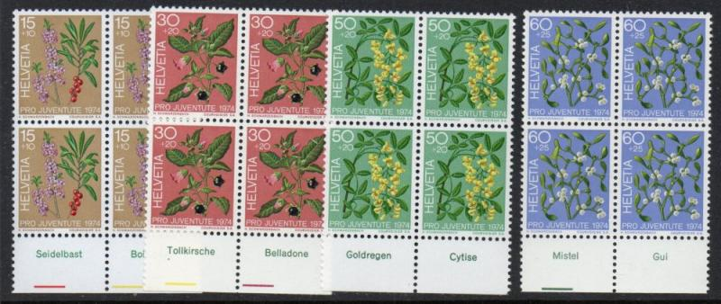 Switzerland Sc B426-9 1974 Plants  Pro Juventute stamp set mint NH Blocks of 4