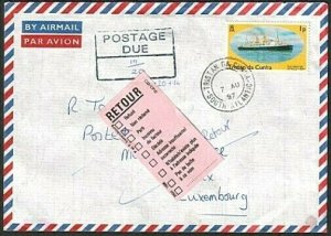 TRISTAN DA CUNHA 1997 Returned postage due cover to LUXEMBOURG.............77410
