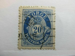 Norway Post Horn Redrawn 1910-29 20o Perf 14 1/2x13 1/2 Fine used A5P21