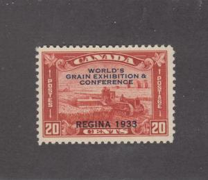 CANADA (MK134) # 203 VF-MLH 20cts HARVESTING WHEAT OVERPRINT/BRN-RED CAT VAL $60