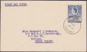 KENYA UGANDA TANGANYIKA 1954 10c Royal Visit FDC KERICHO skeleton cds.......6863