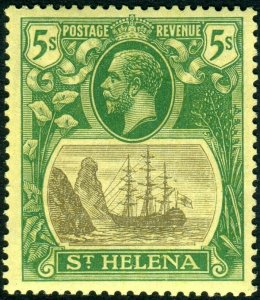 ST HELENA-1927 5/- Grey & Green/Yellow.  A lightly mounted mint example Sg 110